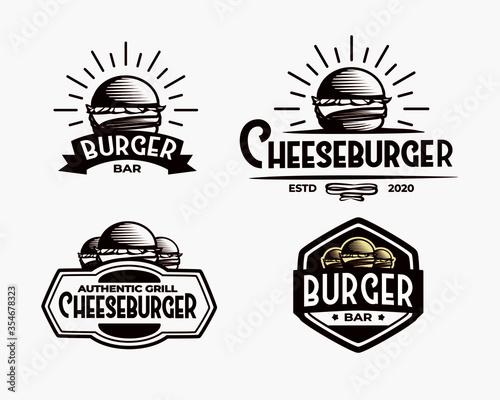 set of vintage handdrawn burger label logo design Wallpaper Mural