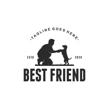 Dog And Man Best Friend Silhouette Logo Illustrations