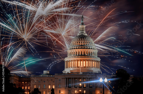 July 4th Independence day show cheerful fireworks display on the U Fototapeta