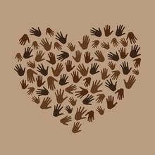 Many Hands In Heart Shape On B...