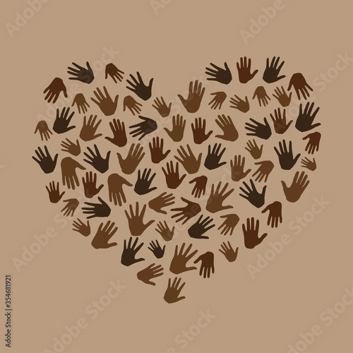 Obraz Many hands in heart shape on brown background. Black lives matter. New movement on the rise, interracial community unity. Protests against racism in America. Modern vector in flat style - fototapety do salonu