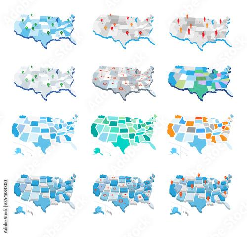 Fotografía Collezione delle mappe degli stati uniti