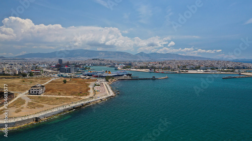 Valokuvatapetti Aerial drone photo of old abandoned fertiliser factory in Piraeus port where tom
