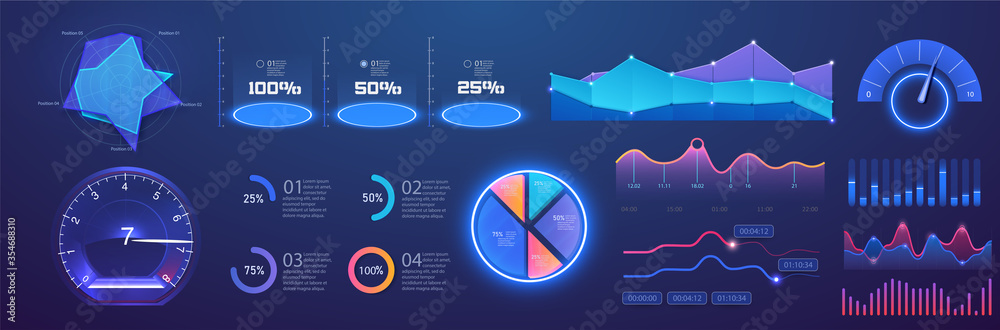 Fototapeta Futuristic neon infographic dashboard template with charts, diagrams elements, online statistics and data analytics. Information panel Mockup. UI, UX,KIT elements design. Vector infographics set.Admin