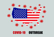 Coronavirus (COVID-19) outbreak warning against a United States maps background. Covid-19 outbreak in United States.