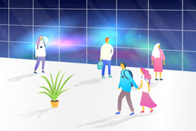 Vector Illustration. A Group Of People Visit The Observatory. Night Sky. Panoramic View. People Look At The Aurora Borealis Through The Glass. Modern Illustration With Gradient Color