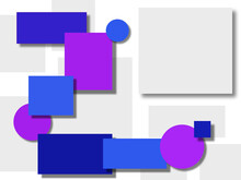 Different Blue And  Purple  Rectangles And Circles On A White Background.Modern 3D Design For Poster, Cover And Branding.