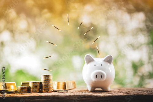 Obraz Piggy bank and gold bar with coin drop on the top with working capital management put on the wood in the public park, Saving money for future investment concept. - fototapety do salonu