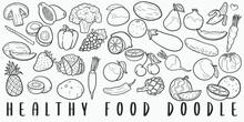 Healthy Food Doodle Line Art Illustration. Hand Drawn Vector Clip Art. Banner Set Logos.