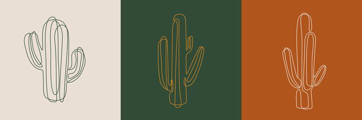 Line art ilustracije kaktusa. Eps10 vektor.