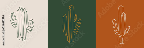 Line art cactus illustrations. Eps10 vector. Wallpaper Mural