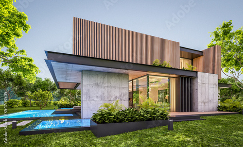 Fototapeta 3d rendering of modern cozy house with parking and pool for sale or rent with wood plank facade and beautiful landscaping on background. Clear summer evening with cozy light from window. obraz