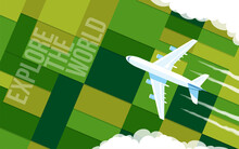 The Plane Flies Over The Green Fields. Airplane In The Clouds. Top View. Vector Illustration