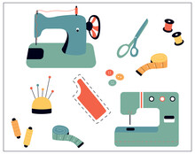 Vector Illustration Of Sewing Stuff - Sewing Machine, Scissors, Threads, Needles, Pins, Measuring Tape, Buttons. Illustration For Sewing Machine Day.