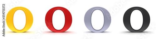 O letter 3d sign type capital alphabet gold red silver black Fototapete