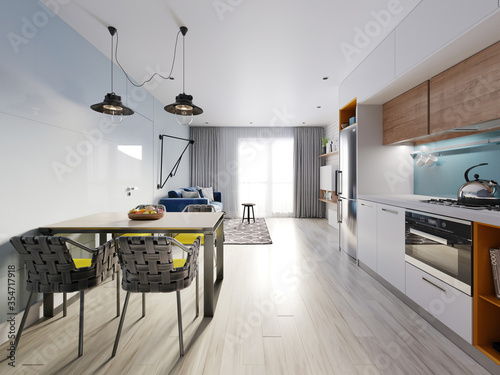 small studio apartment with kitchen, dining room and living room with sofa Wallpaper Mural