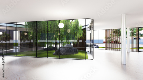 Spacious bright spatial rooms with lots of greenery behind the glass Canvas Print