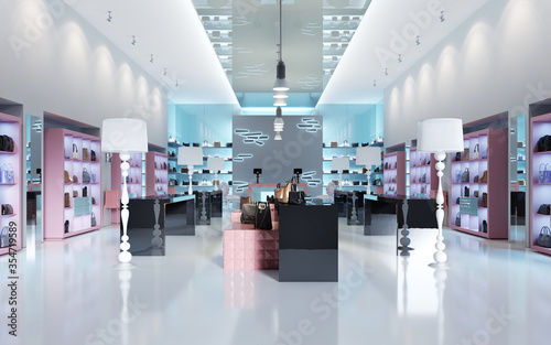 Obraz Interior design of a store of branded bags. - fototapety do salonu