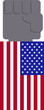 Fist of blacks and the United States flag ,Referring to protests about racism in the United States.