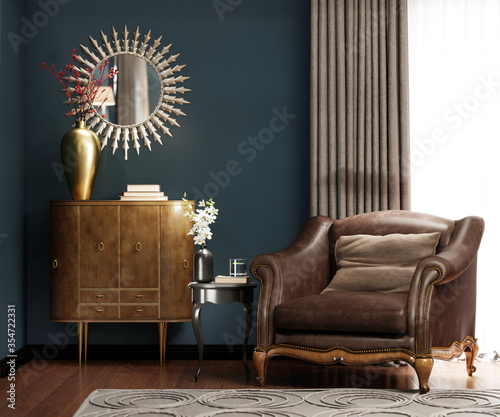 Photo A classic leather armchair with a brown pillow, near the golden chest of drawers with decor, by the window