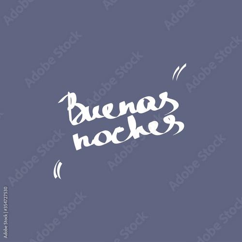 Cuadros en Lienzo Hello summer, lettering in Spanish: Good night, lettering in Spanish: Buenas Noches