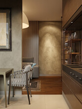 Corridor From The Kitchen To The Living Room In A Modern Loft Style.