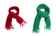Green And Red Knitted Scarf On...