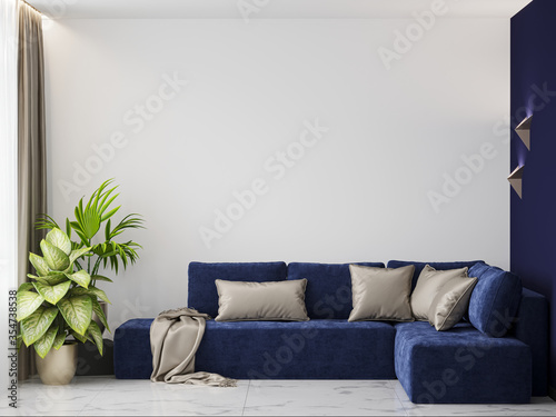 3d rendering living room with a blue sofa and a white and blue accent wall Canvas Print