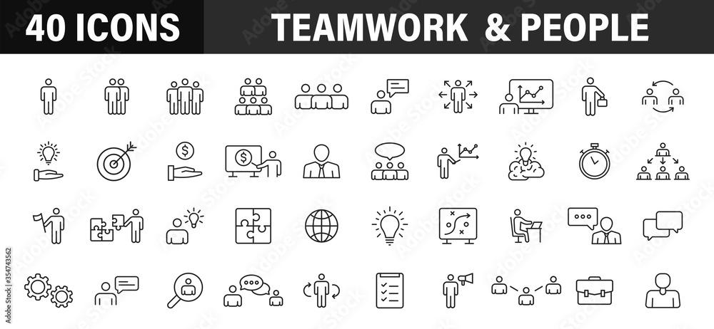 Fototapeta Set of 40 Teamwork web icons in line style. Team Work, people, support, business. Vector illustration.
