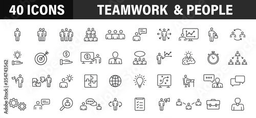 Photo Set of 40 Teamwork web icons in line style