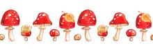 Mushrooms Fly Agaric Leaf Birc...