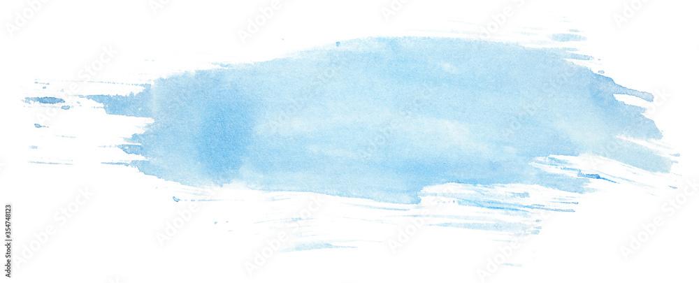 Fototapeta blue watercolor stain, brush stroke blue texture on paper