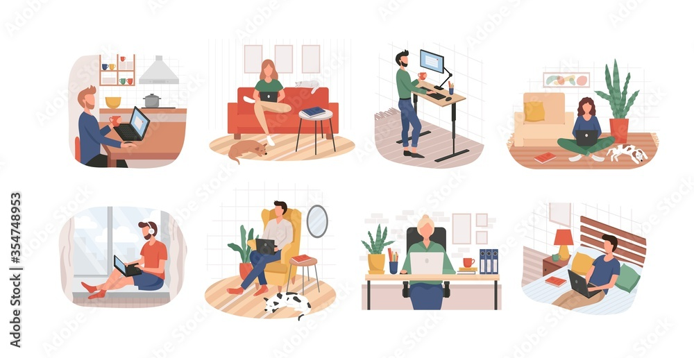 Fototapeta Set of remote working from home or any place vector illustration. Woman on sofa man in bed flat style. Freelance and convenient job concept. Isolated on white background