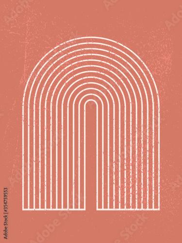 Slika na platnu Abstract contemporary aesthetic background with geometric shape, rainbow gates