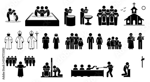 Photo Christian religion practices and activities in church stick figures icons