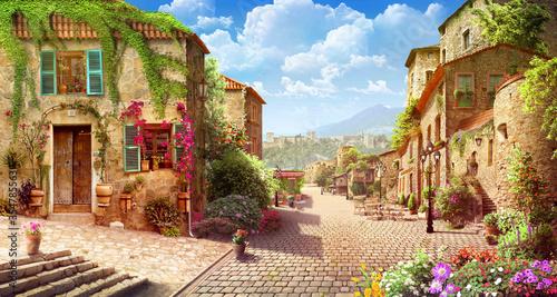 Naklejka premium stare nadmorskie miasto w prowincji z zielonymi drzewami i jasnym niebem
