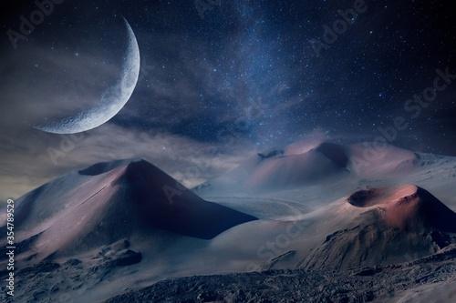 Beautiful scenery of volcanoes under the surreal moon at night time Slika na platnu