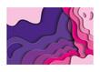 Purple and pink waves background inside frame vector design
