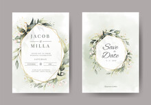 Wedding Invitation Card Set With Branch Leaf Greenery Watercolor And And Gold Design Greeting Card Template