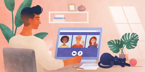 Work from Home. A business group meeting being held via a video conference call. Remote work, Online webinar, New normal. Online technology concept vector illustration.