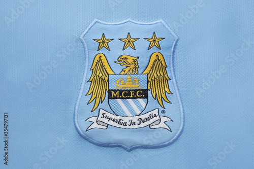 The Old logo of Manchester City on an official jersey. This Logo was used from  1997-2016