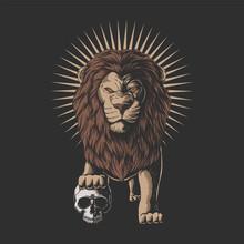 Lion Stepped On A Human Skull Vector Illustration