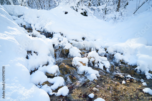 Photo Mountain river in the winter forest.