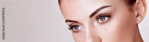 Fotografie, Obraz Beautiful Woman with Extreme Long False Eyelashes