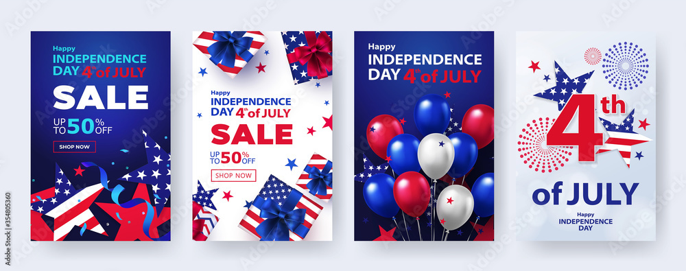 Fototapeta Fourth of July. 4th of July holiday banners, posters, cards or flyers Set. USA Independence Day design template for sale, discount, advertisement, social media, web. Place for your text.