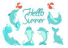 Greeting Card With Dolphins With The Inscription Hello Summer. Set Of Dolphins Isolated On A White Background. Vector Graphics.
