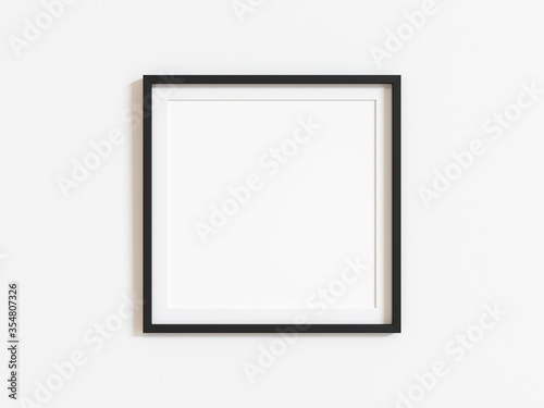 Black square frame mockup on white wall. 3d illustration.