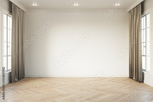 Fototapeta Empty white room mock up with white window, brown curtain and wooden floor. 3d illustration. obraz