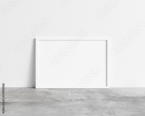 Fotomural Horizontal empty white frame mock up on concrete floor
