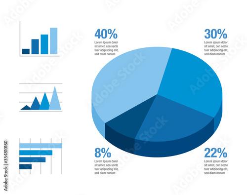 Blue gradient infographic with element icons Slika na platnu